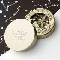 Personalised Adventurer's Brass Sundial and Compass - ideal gift for Birthday, Father's Day, Christmas